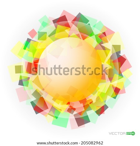 abstract colored translucent squares with yellow sphere in the middle - stock vector