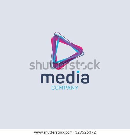 Abstract colored vector logo. Play logo. Media logo. Multimedia logo. Company logo - stock vector