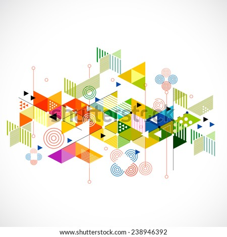 Abstract colorful and creative geometric with a variety of geometric pattern background, vector illustration - stock vector