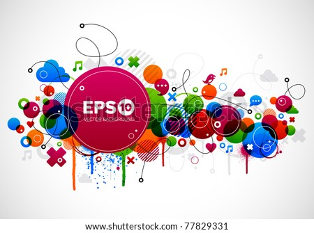 Abstract colorful background design with paint splatter eps10 - stock vector
