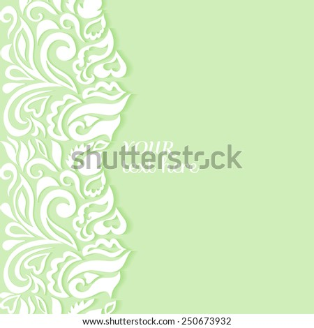 Abstract colorful background, frame border floral pattern, wedding invitation or greeting card design, beautiful luxury postcard, ornate page cover, ornamental vector illustration - stock vector