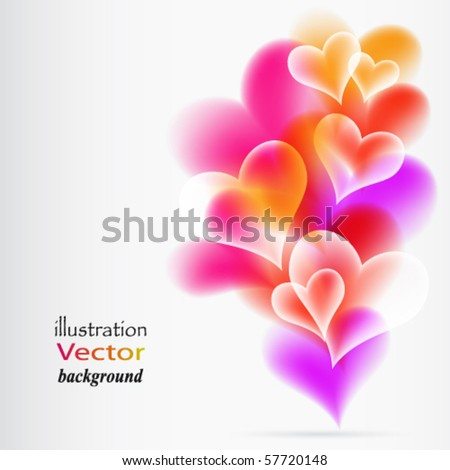 Abstract Colorful Background from hearts. Vector. - stock vector