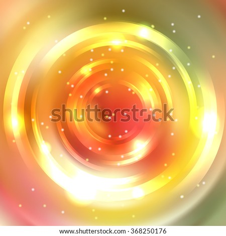 Abstract colorful background,  Shining circle tunnel. Elegant modern geometric wallpaper.   Vector  illustration. Yellow, orange, green colors.  - stock vector
