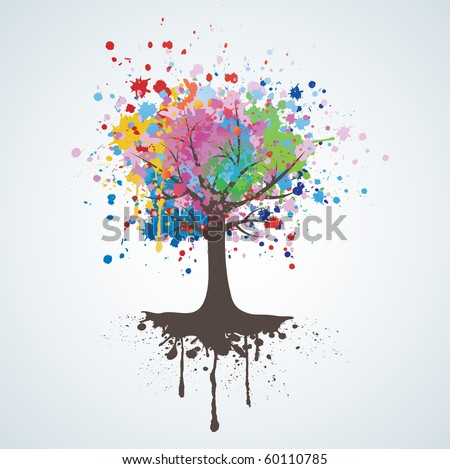 Abstract colorful background. Tree vector. - stock vector