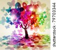 Abstract colorful background. Tree with a crown made of butterflies. Vector illustration. - stock vector