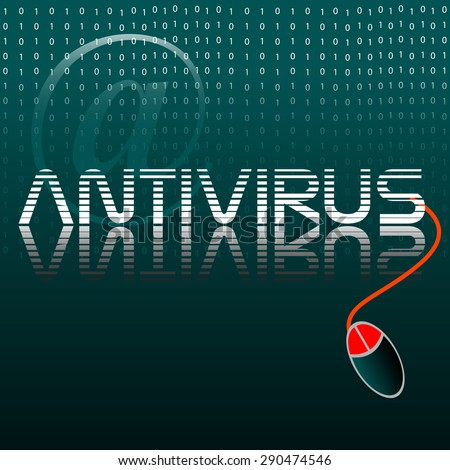 Abstract colorful background with a computer mouse connected to the word antivirus. Internet security concept - stock vector