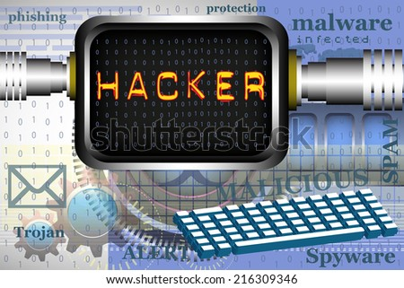 Abstract colorful background with a high tech computer screen connected to the internet and the word hacker written on the screen. Hacking theme - stock vector