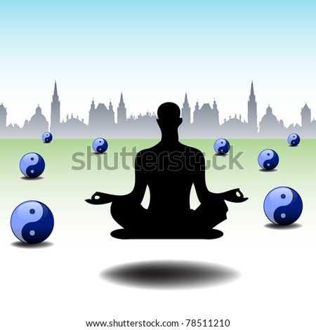 Abstract colorful background with a man levitating between yin and yang balls. Levitation concept - stock vector