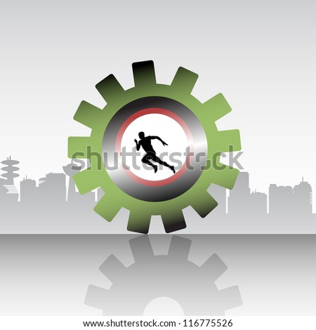 Abstract colorful background with an athlete running inside of a gear. Progress concept
