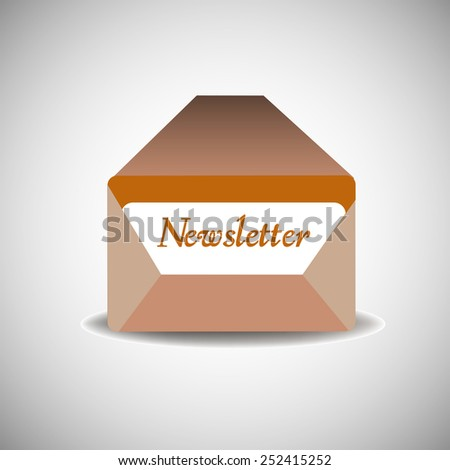Abstract colorful background with an isolated brown envelope and the word newsletter written on a paper inside the envelope - stock vector