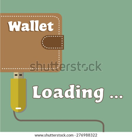 Abstract colorful background with an USB flash drive uploading a wallet with money. Virtual money concept - stock vector