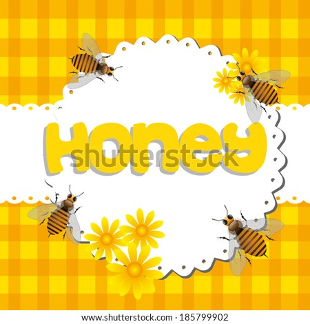 Abstract colorful background with bees among yellow flowers and the word honey written with yellow letters in the middle of the image - stock vector