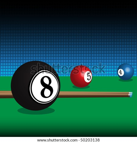 Abstract colorful background with billiard balls and cues - stock vector