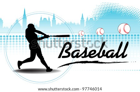Abstract colorful background with black baseball player silhouette training and hitting some balls far away - stock vector