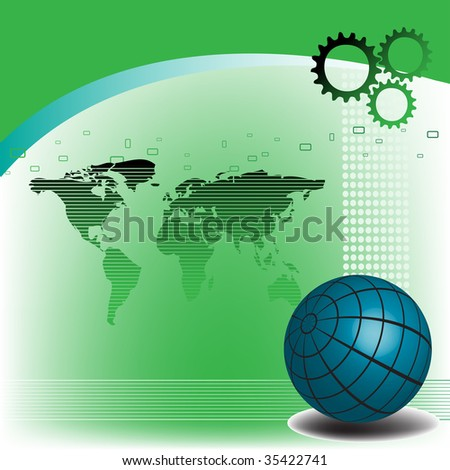 Abstract colorful background with blue sphere, cogwheels and worldmap shape. High tech concept - stock vector