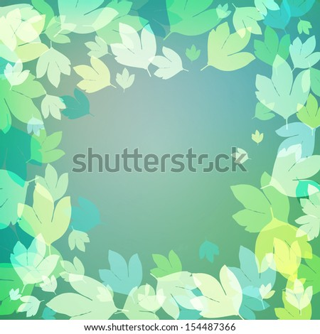 Abstract colorful background with bright green leaves - stock vector