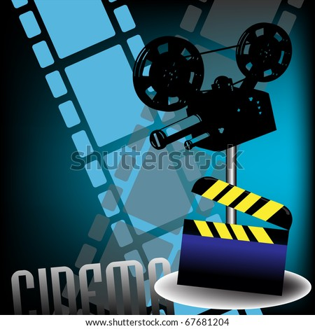 Abstract colorful background with clapboard filmstrips and movie projector. Cinema theme - stock vector