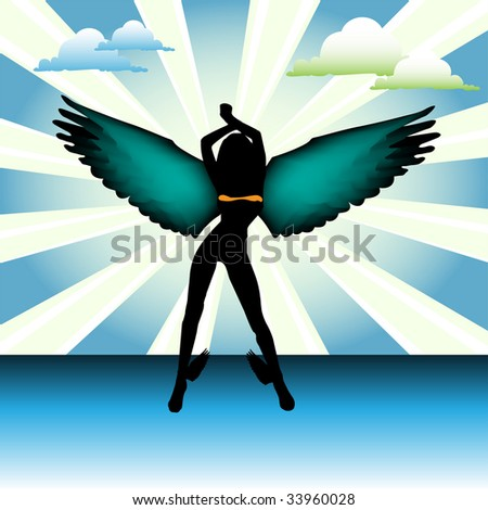 Abstract colorful background with clouds and angel silhouette with colored wings - stock vector