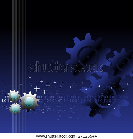 Abstract colorful background with cog wheels, small plus symbols and binary numbers - stock vector