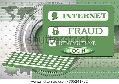 Abstract colorful background with computer keyboard, login design with the text internet fraud written with capital letters - stock vector