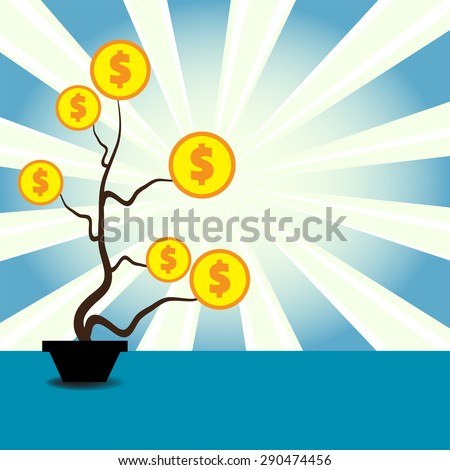 Abstract colorful background with dollars growing on a plant's branches - stock vector