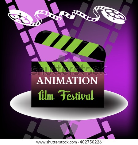 Abstract colorful background with film reel and a clapboard with the text animation film festival