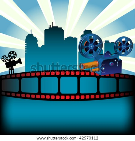 Abstract colorful background with filmstrip, skyscrapers and two movie projectors. Movie festival concept - stock vector