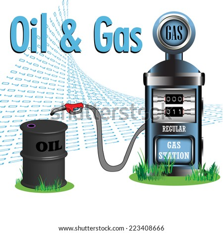 Abstract colorful background with gas pump and an oil barrel. Oil and gas resources concept - stock vector