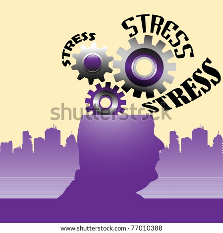 Abstract colorful background with gears coming out from a human's head. Stress concept - stock vector