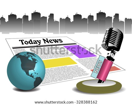 Abstract colorful background with globe, newspaper and microphone. News concept - stock vector