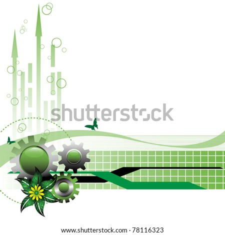 Abstract colorful background with green gears, arrows, stripes, small squares, yellow flower and green leaves. High tech design - stock vector