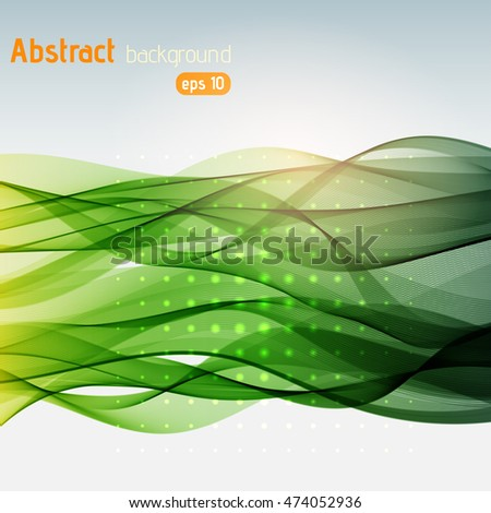 Abstract colorful background with green  swirl waves. Abstract background design.  Eps 10 vector illustration