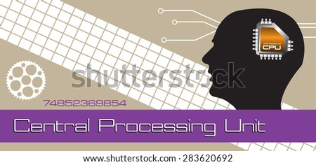 Abstract colorful background with head silhouette and a small microprocessor connected to the head. Central Processing Unit concept - stock vector
