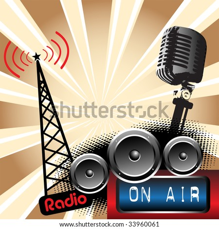 Abstract colorful background with microphone shape, loudspeakers and radio tower shape. Radio concept - stock vector