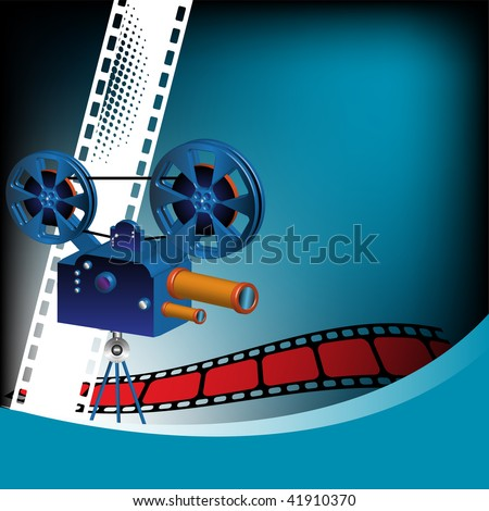 Abstract colorful background with movie projector and red filmstrip. Cinema theme - stock vector