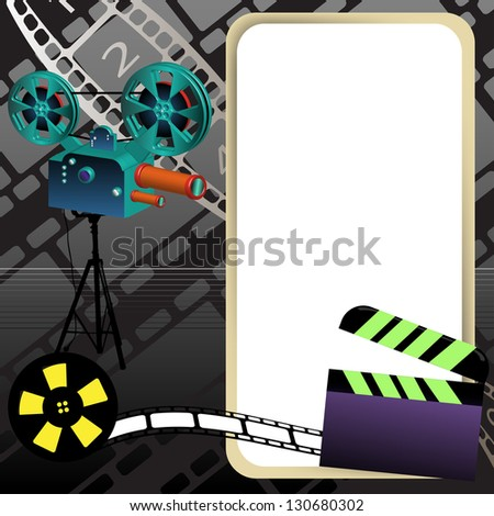 Abstract colorful background with movie projector, clapperboard, film reel, film strip and an empty rounded frame - stock vector