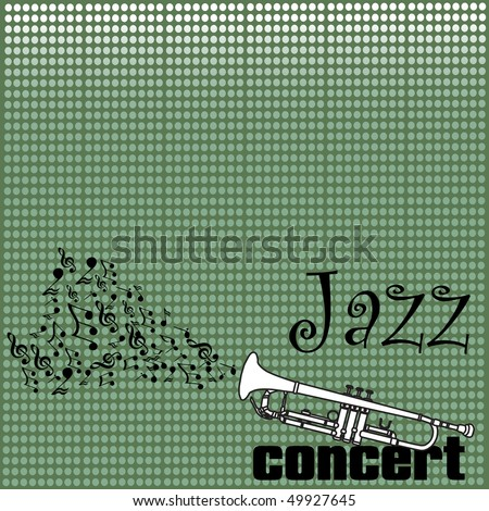 Abstract colorful background with musical notes coming out from a white trumpet. Jazz concert concept