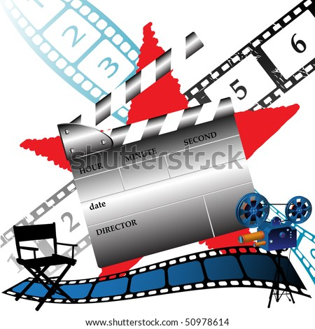 Abstract colorful background with numbered filmstrips, movie projector, movie director chair and clapboard - stock vector