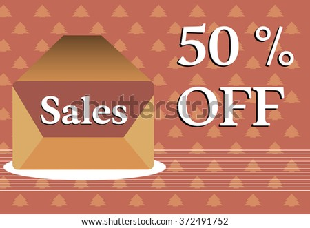 Abstract colorful background with open envelope with the word sales and the text fifty percent off written near the envelope - stock vector