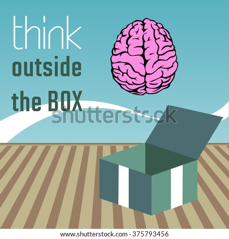 Abstract colorful background with pink brain coming out from a box and the text think outside the box written near on the wall