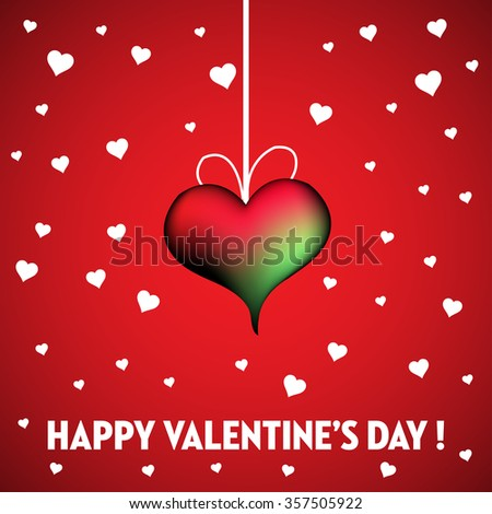 Abstract colorful background with red heart hanging among white hearts. Valentine's Day theme - stock vector