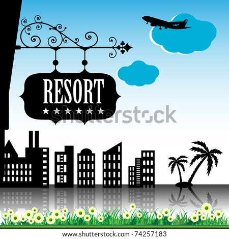 Abstract colorful background with resort black plate hanging from a building, plane flying, buildings, palm trees and flowers - stock vector