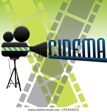 Abstract colorful background with the text cinema coming out from a movie projector. Cinema background - stock vector