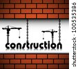 Abstract colorful background with two cranes building up the word construction between two brick walls. Construction theme - stock photo