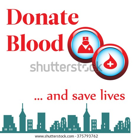 Abstract colorful background with two medical rounded symbols and the text donate blood written with red letters - stock vector
