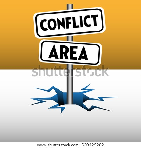Abstract colorful background with two plates with the text conflict area coming out from an ice crack