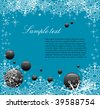 Abstract colorful background with white snowflakes and black bubbles. Winter season colored card - stock vector