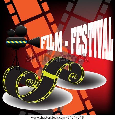 Abstract colorful background with yellow filmstrip, movie projector and the text film festival coming out from the projector. Film festival concept - stock vector
