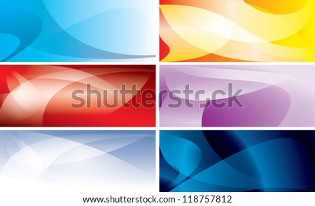 abstract colorful backgrounds with wavy lines - vector set - stock vector