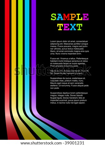 Abstract colorful bent stripes vector background with black copy space. - stock vector